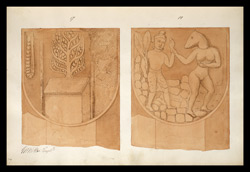 Two drawings of sculpture on the stupa rail at Bodhgaya (Bihar), made by Kittoe during his investigation of the site. January 1847. 9